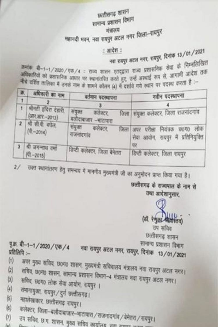 Jagannath Verma will be the new deputy collector of Raipur, three officers of the state administrative service transferred