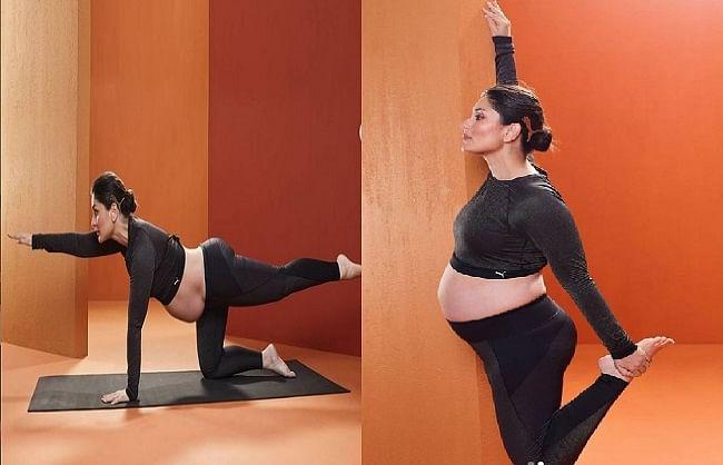 करीना कपूर खान ने बेबी बंप फ्लॉन्ट करते हुए किया योगासन, वायरल हुईं  तस्वीरें