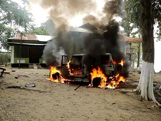 Angry villagers set fire to forest department office and vehicle