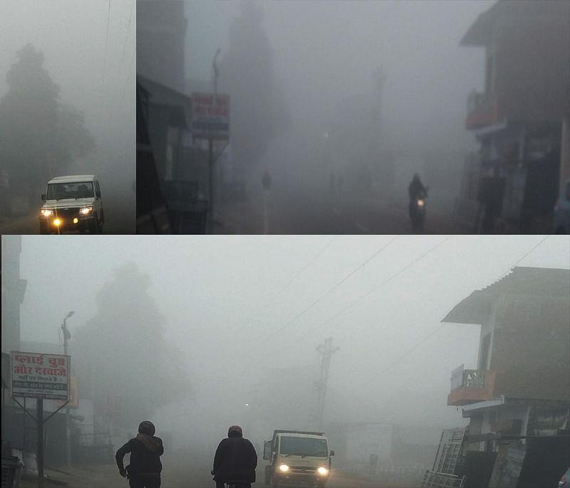 हमीरपुरः पारा फिर 5 डिग्री सेल्सियस, घने कोहरे की चादर से ढका शहर