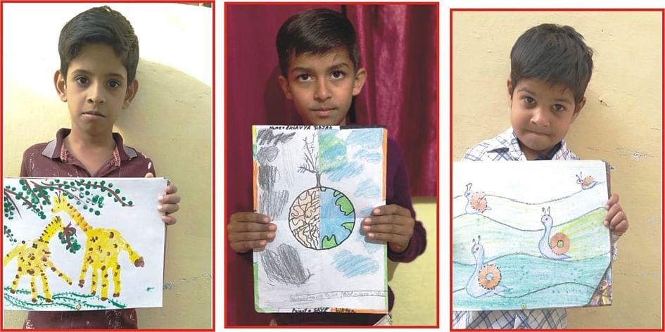 ऑनलाइन प्रतियोगिता में बच्चों ने चित्र बनाकर किया छुपी प्रतिभा को उजागर