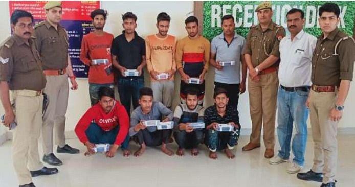 कानपुर पुलिस ने शातिर लूटेरे गिरोह को दबोचा, नौ शातिरों के कब्जे से 28 मोबाइल बरामद