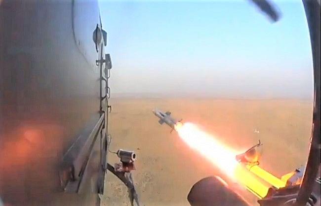 वायुसेना ने ध्रुव हेलीकॉप्टर से लॉन्च की एंटी टैंक मिसाइल 'ध्रुवास्त्र'