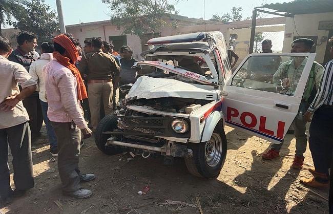 राज्य मंत्री की एस्कॉर्ट जिप्सी रोडवेज बस से भिड़ी, तीन पुलिसकर्मी घायल