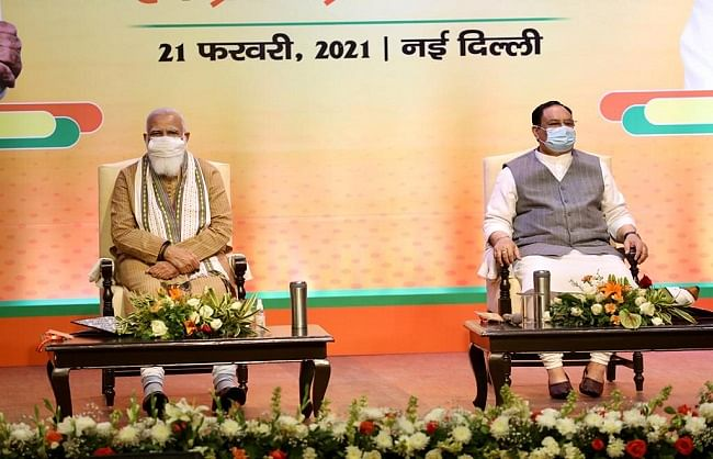 भाजपा पदाधिकारियों की बैठक में 5 राज्यों के विस चुनाव की तैयारियों पर चर्चा