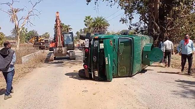 कांकेर : बीएसएफ की एन्टी लैंडमाइन वाहन पलटी