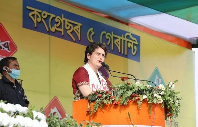 असम: प्रियंका गांधी ने कांग्रेस के लिए शुरू किया 'पांच गारंटी' अभियान