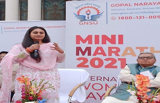 अंतरराष्ट्रीय शूटर और भाजपा विधायक श्रेयसी सिंह ने किया मैराथन दौड़ का उद्घाटन