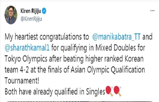 रिजिजू ने मनिका और शरथ को दी बधाई, कहा- खिलाड़ियों ने बनाया पदक जीतने का मौका