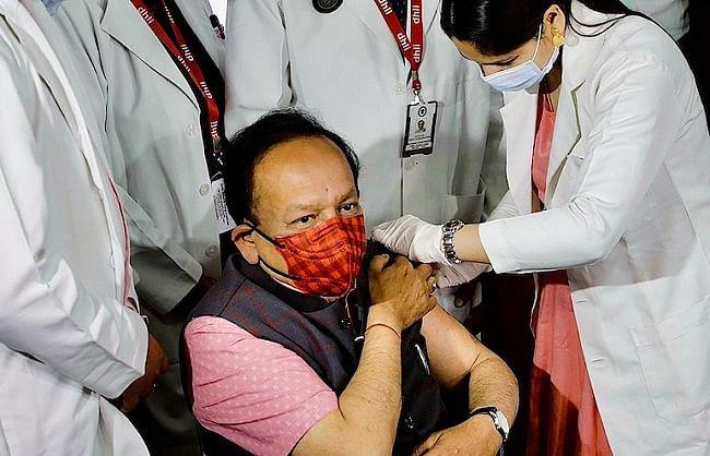 केन्द्रीय स्वास्थ्य मंत्री डॉ. हर्षवर्धन ने लगवाया स्वदेशी कोवैक्सीन टीका