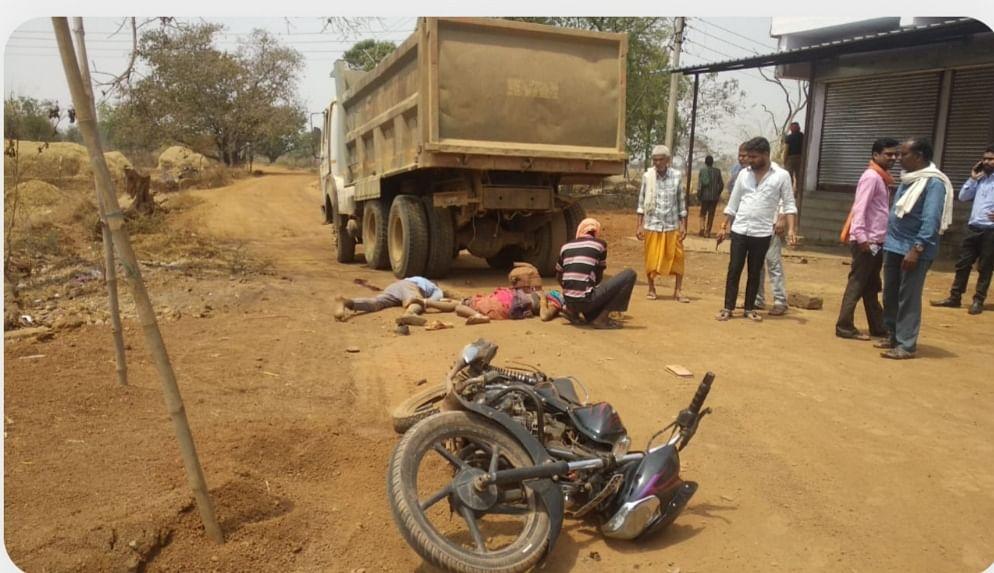 दुर्ग : तेज रफ्तार हाइवा ने मोटरसाइकिल सवार भाई बहन को कुचला, दोनों की मौत