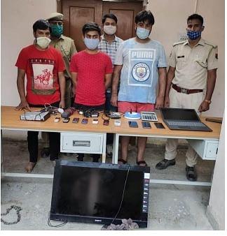 आईपीएल मैच पर सट्टा लगाते तीन सटोरिए गिरफ्तार, लाखों रुपये का हिसाब-किताब सहित कई उपकरण जब्त