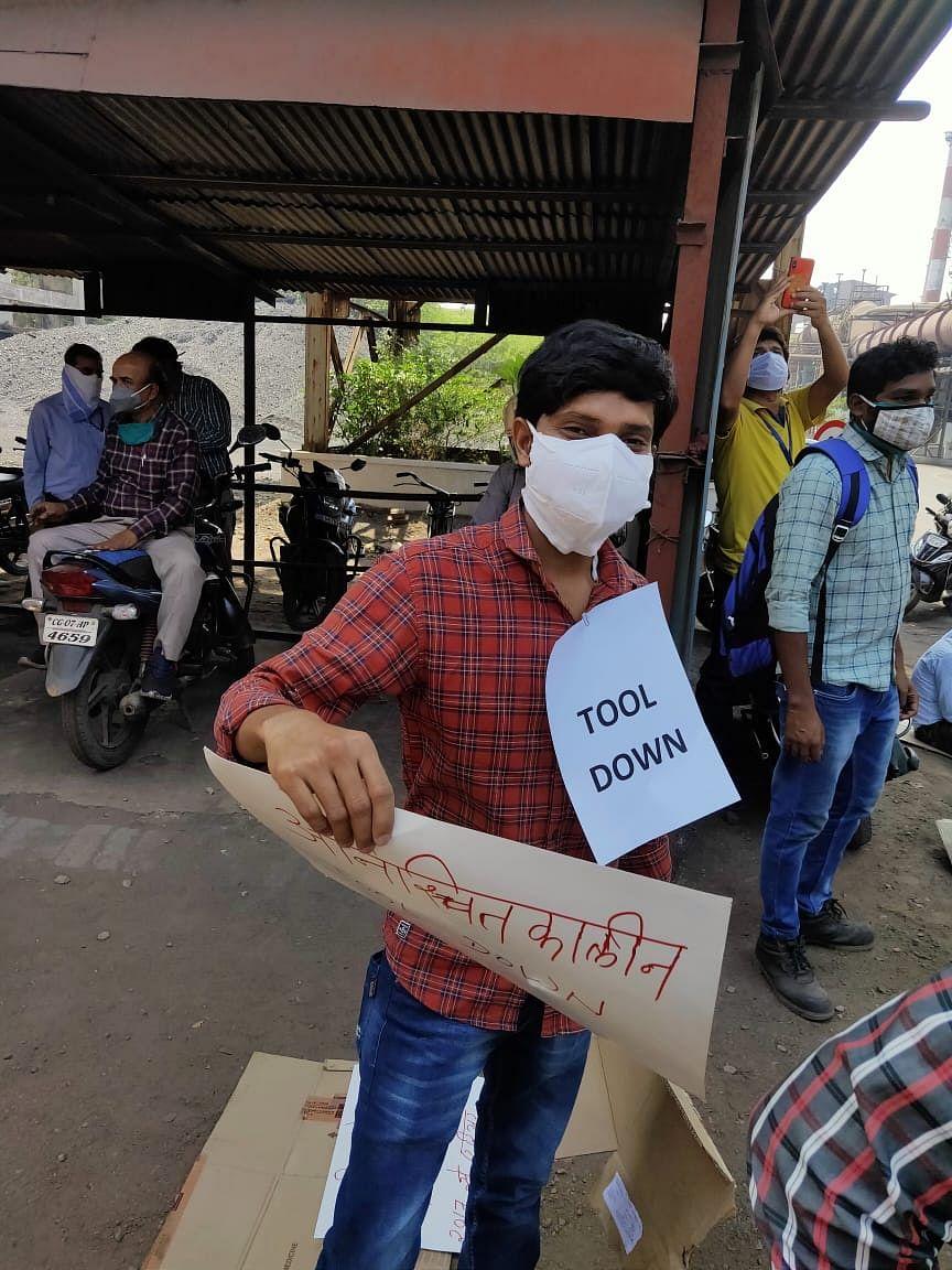 भिलाई :बीएसपी कर्मियों ने आधा दर्जन  मिलों में किया काम बंद