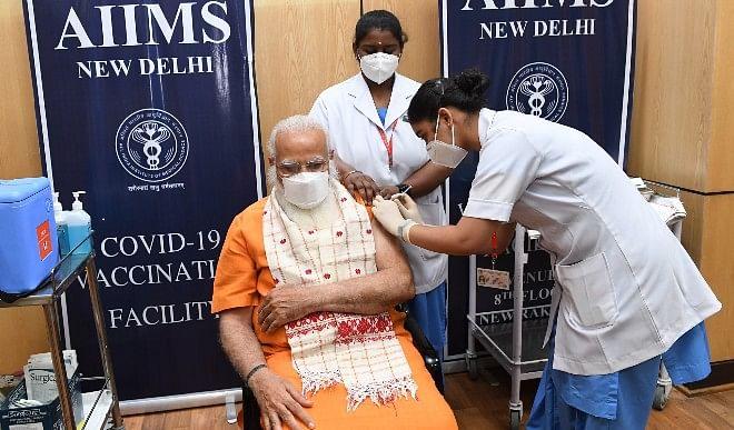 प्रधानमंत्री-नरेंद्र-मोदी-ने-एम्स-में-कोरोना-वायरस-के-टीके-की-दूसरी-खुराक-ली