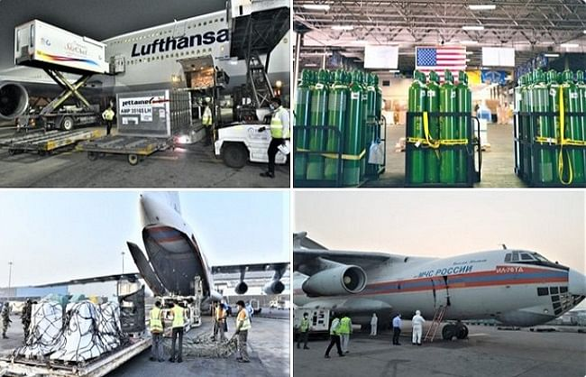 helping-hands-kovid-relief-materials-from-us-uk-and-russia-reached-india