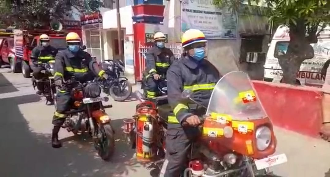 अग्नि शमन सुरक्षा सप्ताह शुरू, गाजियाबाद में निकली जागरूकता रैली