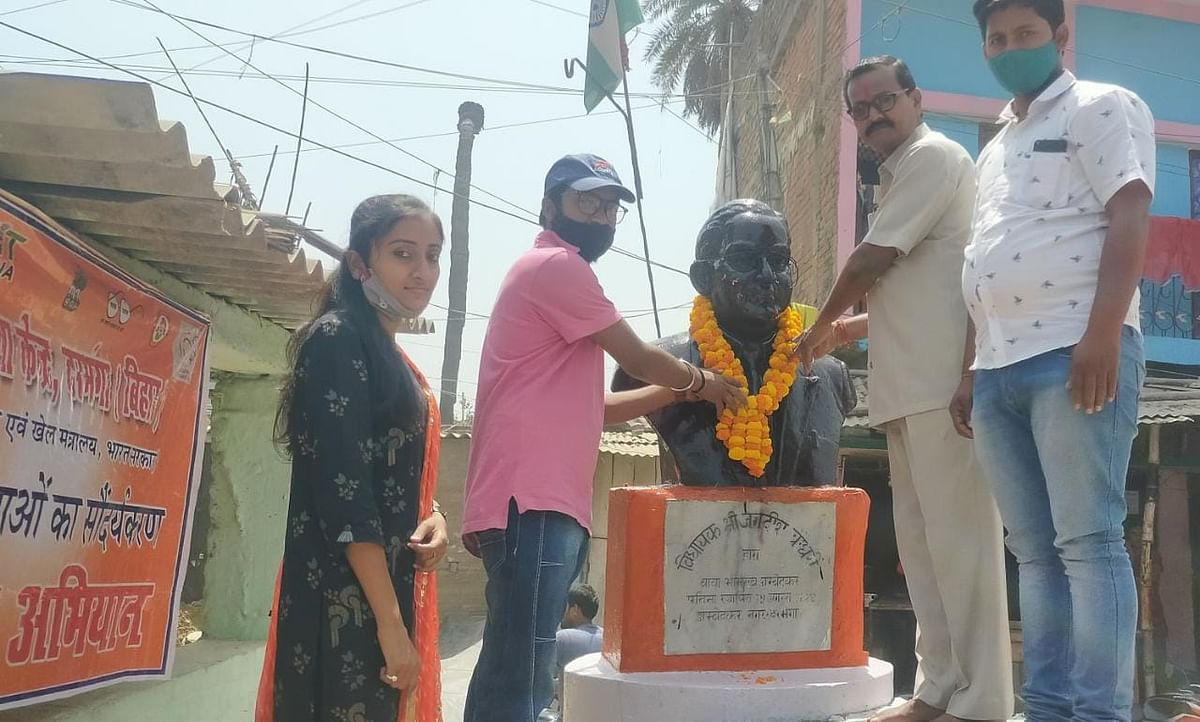 the-statue-of-bhimrao-ambedkar-was-wreathed-with-the-color-of-rohan