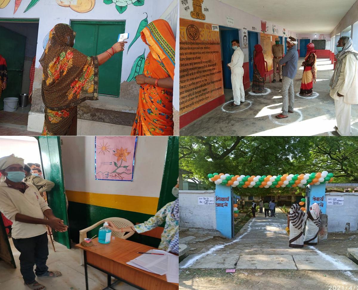 पंचायत चुनाव : कोविड प्रोटोकॉल के तहत आदर्श पोलिंग बूथों पर सम्पन्न हो रहे चुनाव