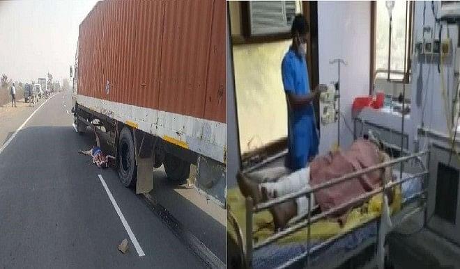 आरटीओ चेकिंग के दौरान तेज रफ्तार ट्रक कंटेनर ड्रायवर ने आरक्षक को कुचला