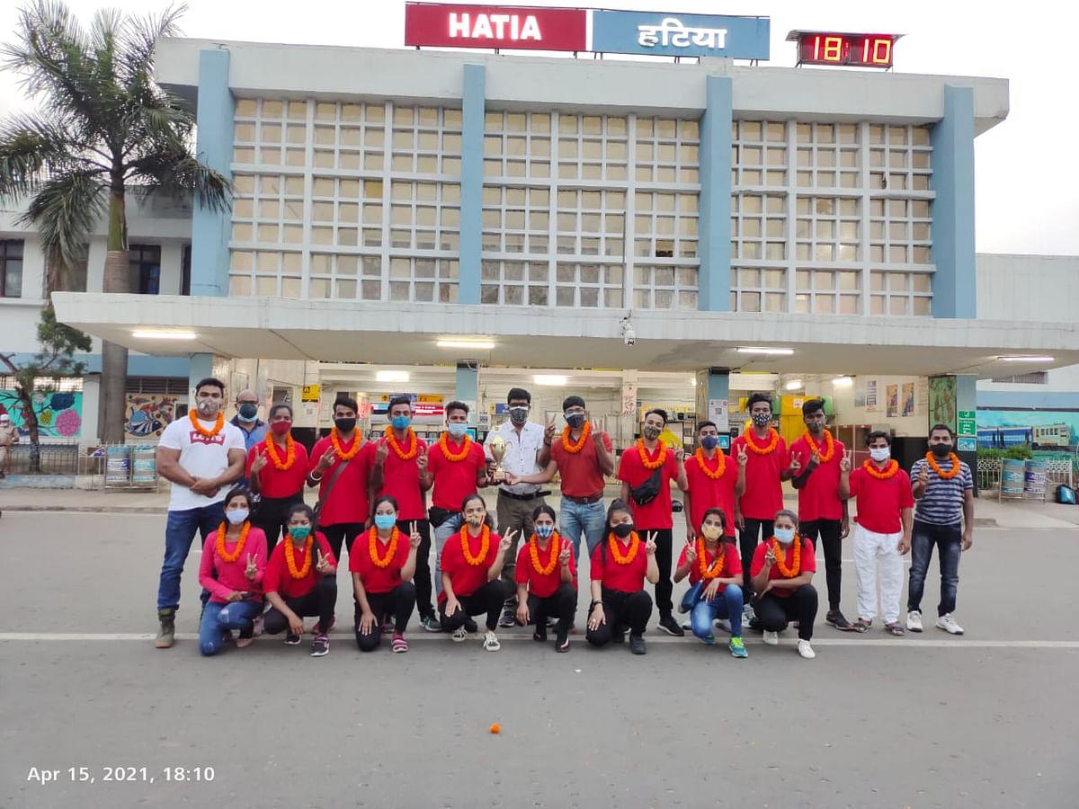 गोवा में राष्ट्रीय एरोबिक चैंपियनशिप में जीते हुए खिलाड़ियों का रांची में हुआ स्वागत