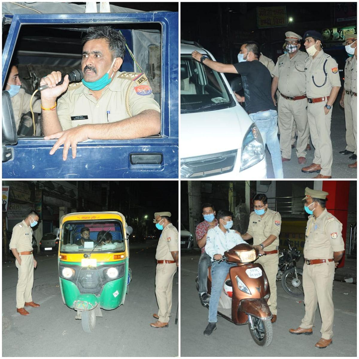 कानपुर में रात्रि कर्फ्यू, सड़कों पर उतरी पुलिस पाबंदी का करा रही पालन