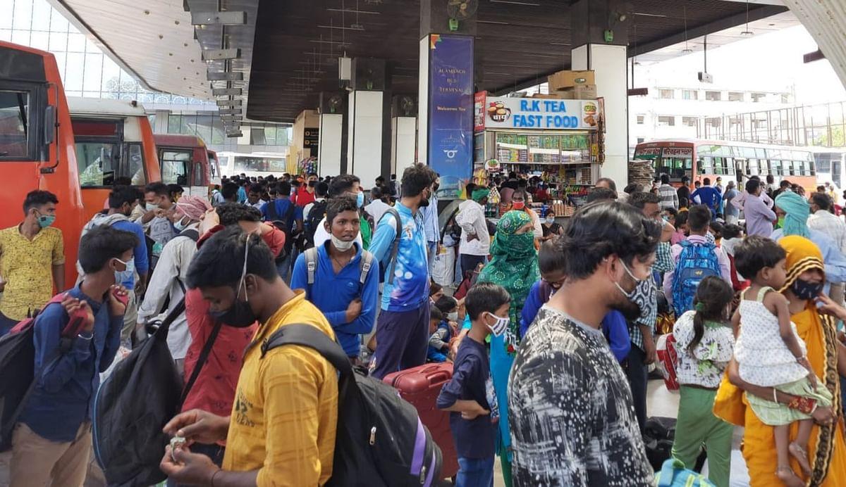 पूर्वांचल की ओर जाने वाले प्रवासियों की संख्या बढ़ी, बस अड्डे भीड़ सेभरे