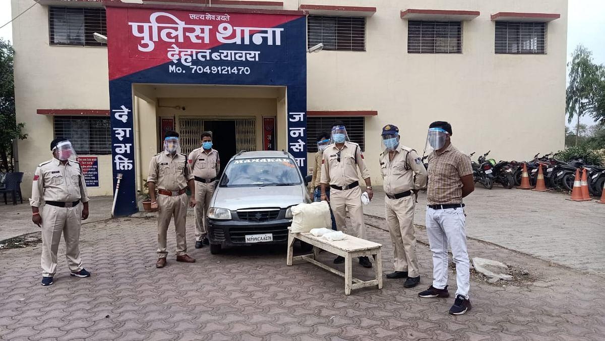 मारुति कार से डेढ़ लाख का गांजा जब्त,तीन गिरफ्तार