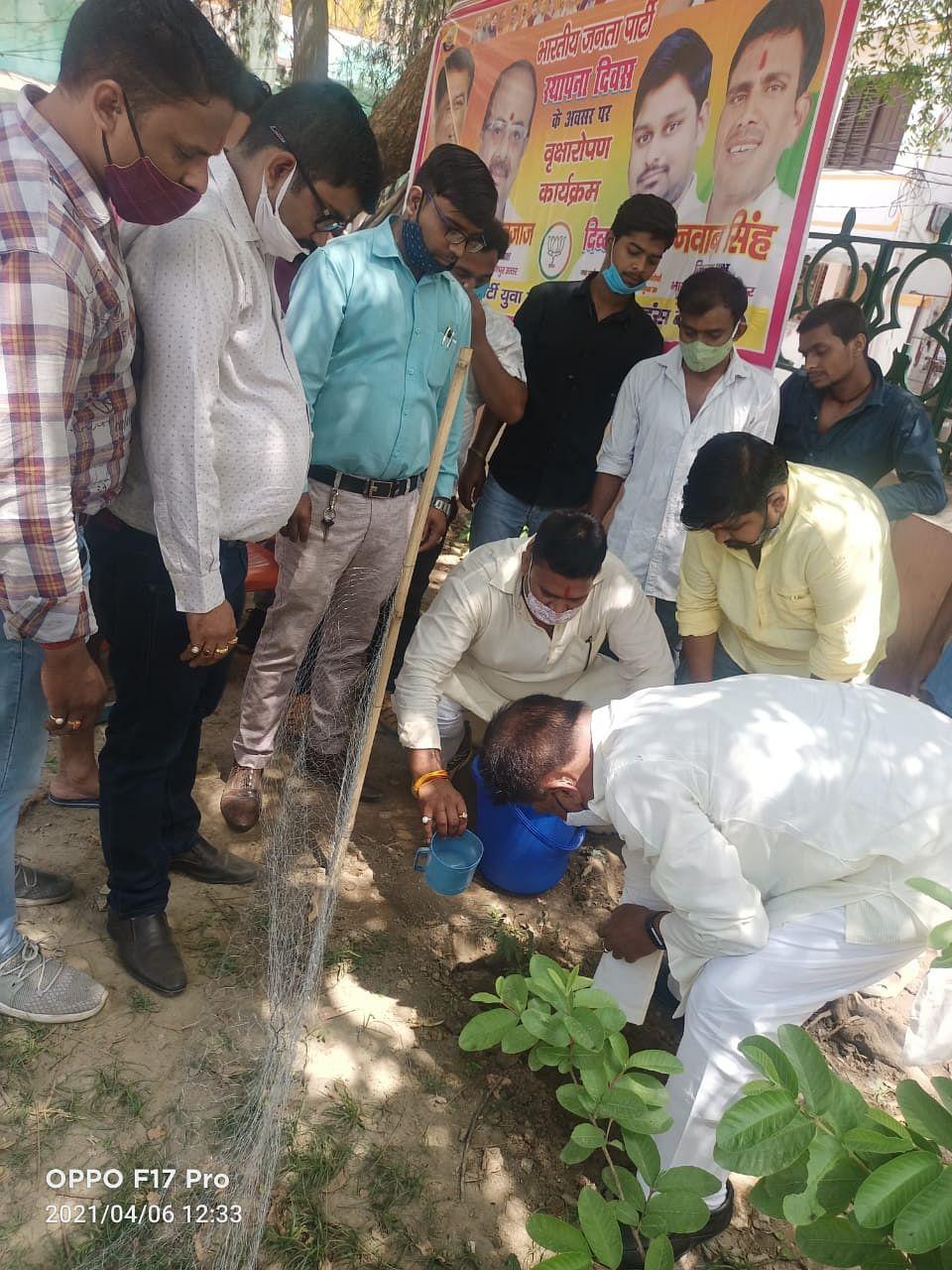 भाजपा के 41वें स्थापना दिवस पर पौधरोपण कर पार्टी को मजबूत करने का लिया संकल्प
