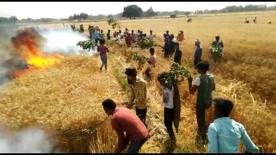 आग के ताण्डव से करीब सौ बीघा गेहूँ की खड़ी फसल जलकर खाक