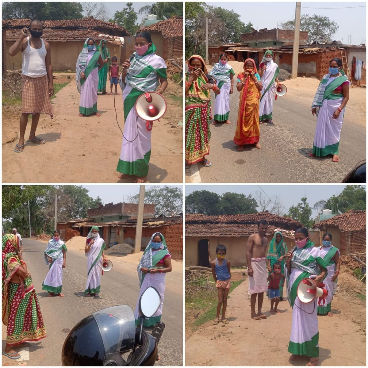 आंगनबाड़ी सेविका टीकाकरण के लिए ग्रामीणों को कर रही हैं जागरूक