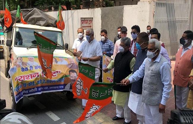 भाजपा के राष्ट्रीय महामंत्री ने राशन किट से भरे 10 वाहनों को किया रवाना