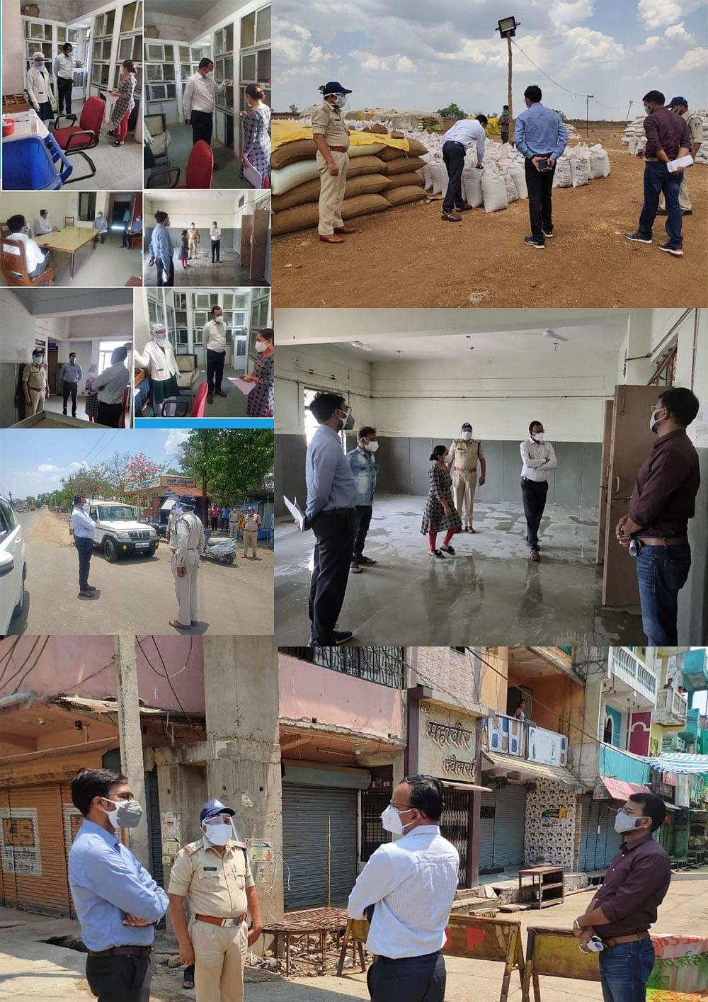 कलेक्टर ने किया सामुदायिक स्वास्थ्य केंद्र, कंटेनमेंट क्षेत्र, उपार्जन केन्द्र का औचक निरीक्षण