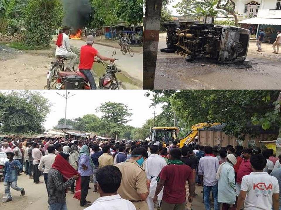 अम्बेडकर नगर : बेकाबू ट्राला दुकानों में घूसा, भीड़ ने एआरटीओ का वाहन जलाया