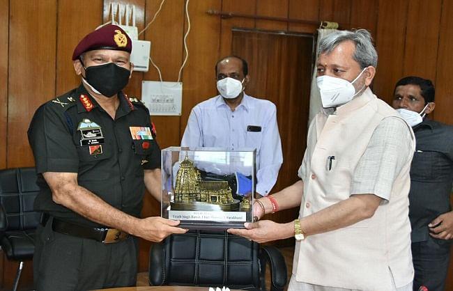 मुख्यमंत्री से सेन्ट्रल कमांड के जीओसी इंचार्ज ने की मुलाकात