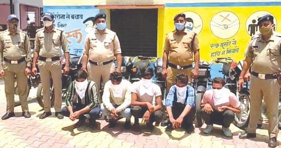 अंतरराज्यीय वाहन चोर गिरोह के पांच सदस्य गिरफ्तार