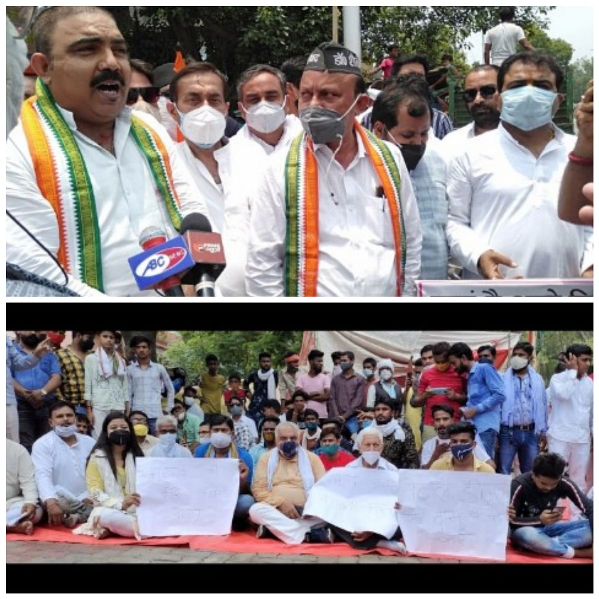 congress-demonstrated-at-petrol-pumps-in-protest-against-uncontrollable-petroleum-products-in-the-country