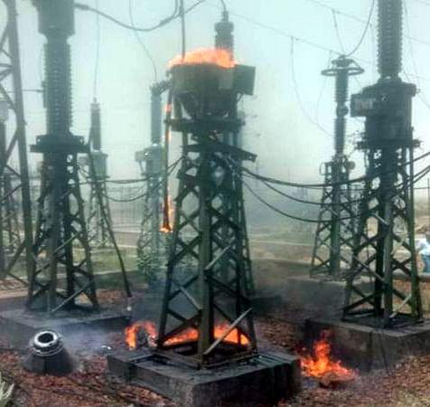 132 केवी जीएसएस में धमाके के साथ लगी आग, बत्ती गुल