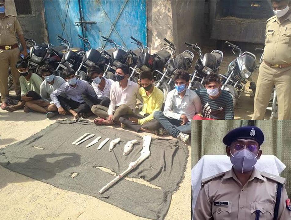 मथुरा : कोसी पुलिस ने दबोचे डकैती की योजना बनाते आठ बदमाश,15 मोटरसाईकिलें बरामद