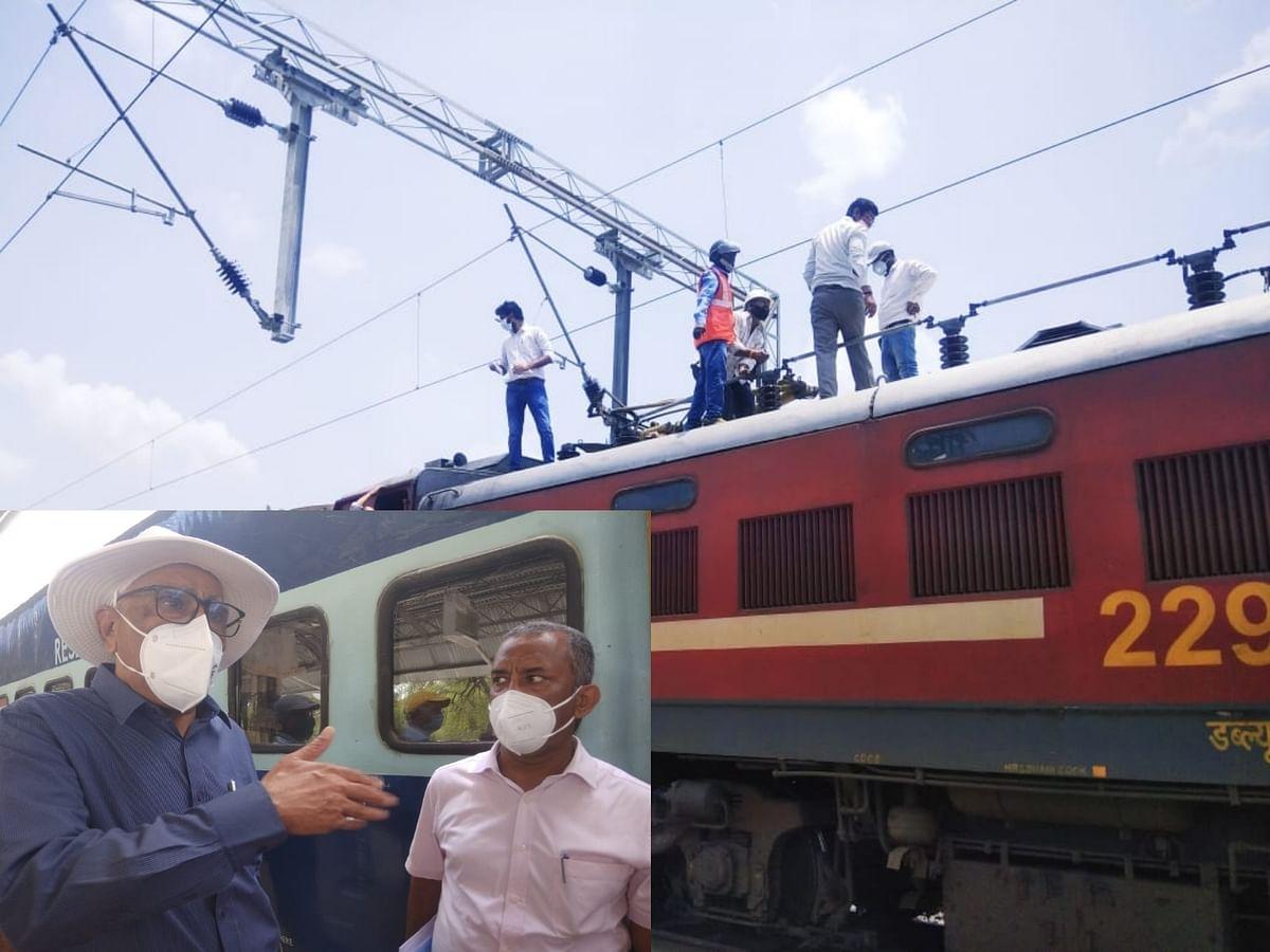अशोकनगर: संरक्षा आयुक्त की स्पेशल ट्रेन के इंजन का पेंटो टूटा, धमाके के साथ रुकी ट्रेन