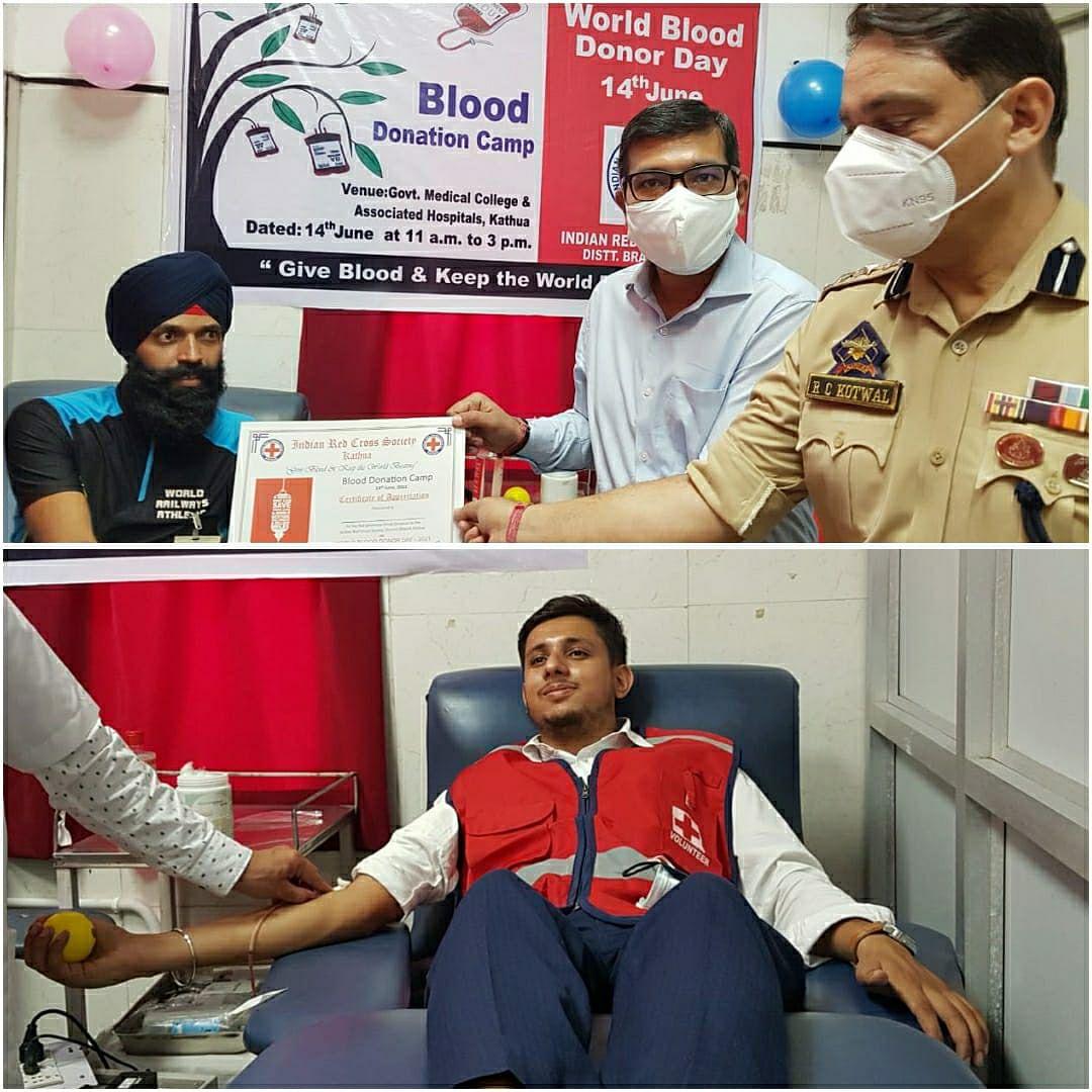 विश्व रक्तदाता दिवस पर डीसी कठुआ ने जीएमसी कठुआ में रक्तदान शिविर का उद्घाटन किया