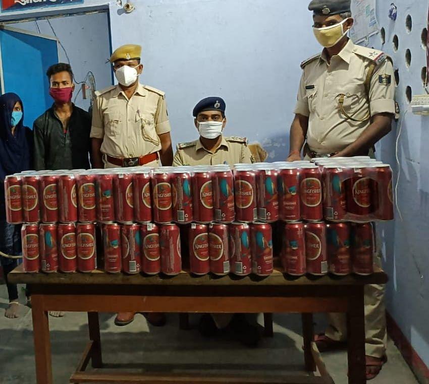 167 लीटर विदेशी शराब, एक बोलेरो के साथ दो कारोबारी गिरफ्तार