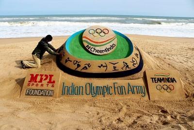पटनायक ने सैंड आर्ट के जरिए टोक्यो ओलंपिक में शामिल होने वाले भारतीय एथलीटों को दी शुभकामनाएं
