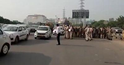 भारत बंद : दिल्ली-गुरुग्राम बॉर्डर पर लगा ट्रैफिक जाम