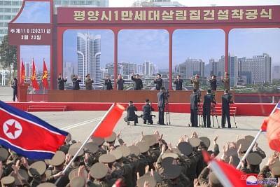 नॉर्थ कोरिया ने 10,000 घरों के निर्माण की योजना के तहत नए निर्माण स्थल का अनावरण किया
