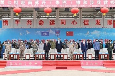 दक्षिण सूडान (जुबा) में 7वें बैच के चीनी शांति पैदल सेना बटालियन के सभी सैनिक व अफसर शांति सम्मान पदक से सम्मानित