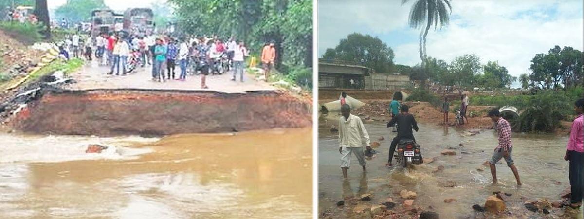 घूमकर जा रहे राहगीर, तीन पुलों के टूटने से बनी समस्या