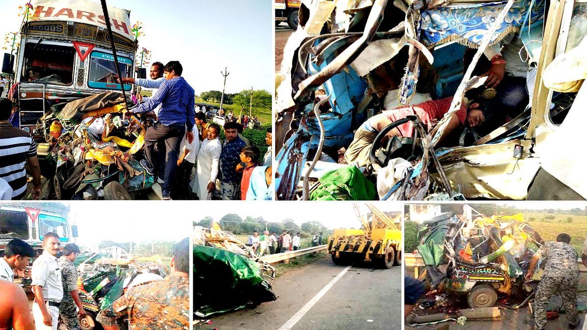 शिवपुरी में दर्दनाक हादसा, मानव अंगों को समेटते नजर आई पुलिस