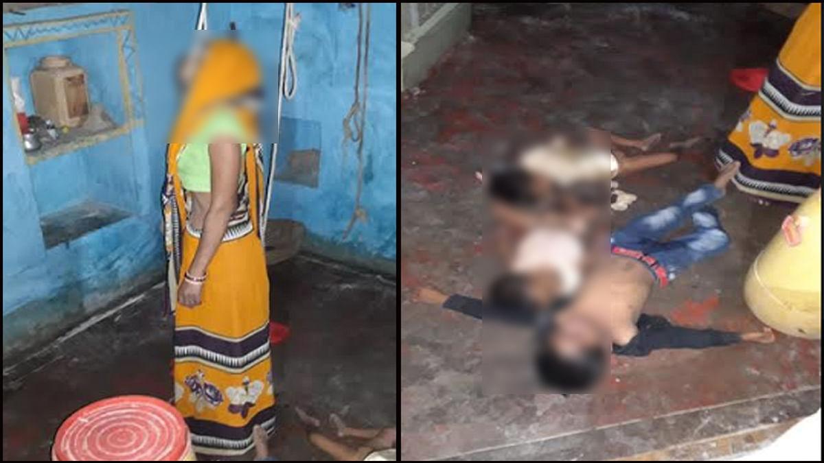 महिला तीन बच्चों के साथ फांसी पर झूली