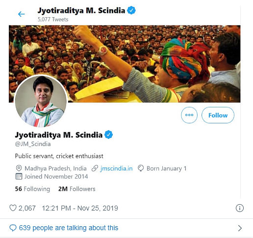 Jyotiraditya Scindia's bio on Twitter after