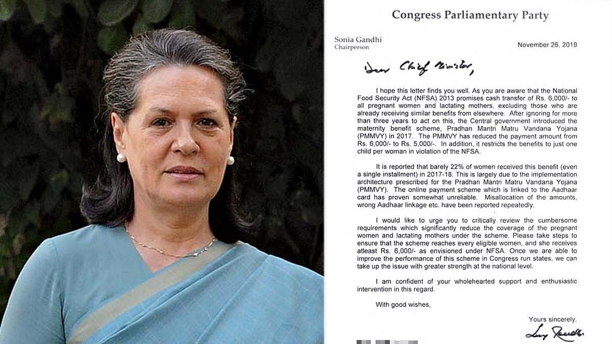 सोनिया गाँधी ने लिखे पत्र, NFSA के तहत दे महिलाओं को अनुदान